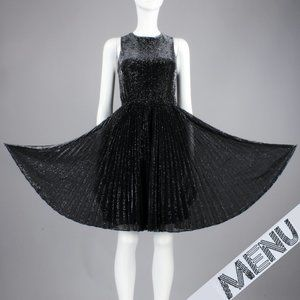 L Vintage 70s Metallic Lame Mesh Pleat Swing Dress